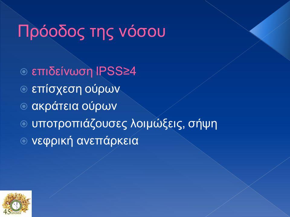 Πρόοδος της νόσου επιδείνωση IPSS≥4 επίσχεση ούρων ακράτεια ούρων