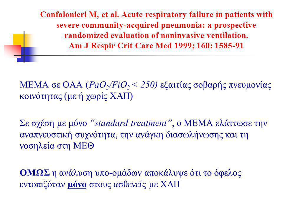 Confalonieri M, et al. Acute respiratory failure in patients with severe community-acquired pneumonia: a prospective randomized evaluation of noninvasive ventilation. Am J Respir Crit Care Med 1999; 160: 1585-91
