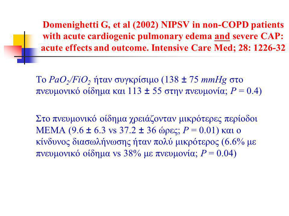 Domenighetti G, et al (2002) NIPSV in non-COPD patients with acute cardiogenic pulmonary edema and severe CAP: acute effects and outcome. Intensive Care Med; 28: 1226-32