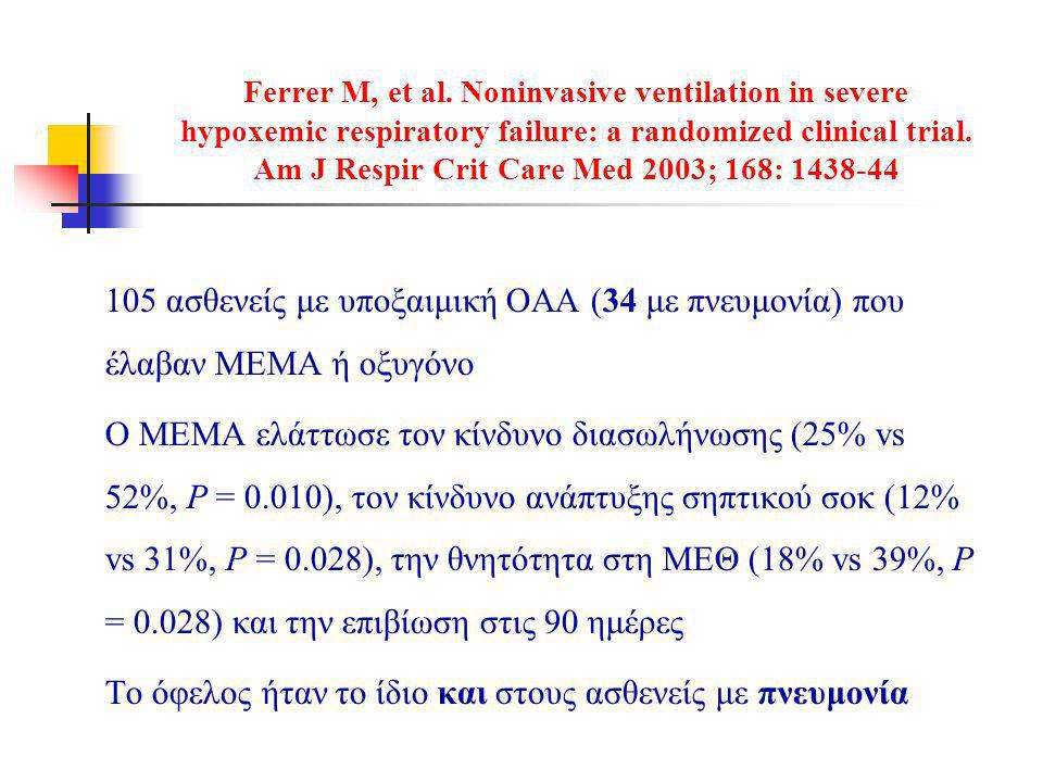Ferrer M, et al. Noninvasive ventilation in severe hypoxemic respiratory failure: a randomized clinical trial. Am J Respir Crit Care Med 2003; 168: 1438-44