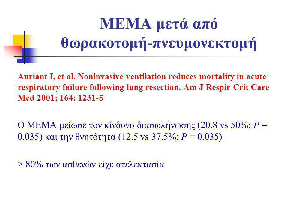 MEMA μετά από θωρακοτομή-πνευμονεκτομή