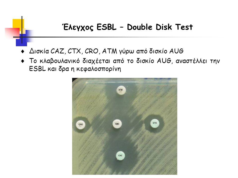 Έλεγχος ESBL – Double Disk Test