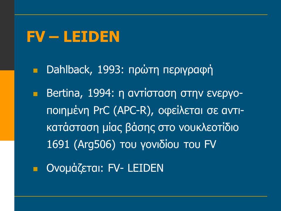 FV – LEIDEN Dahlback, 1993: πρώτη περιγραφή