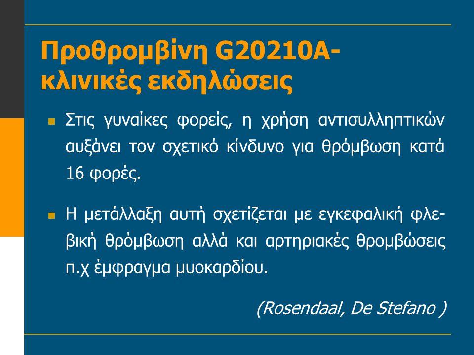Προθρομβίνη G20210A- κλινικές εκδηλώσεις