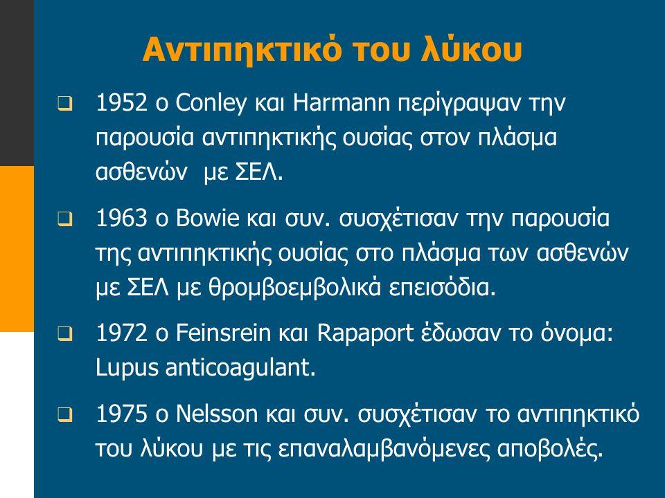 Αντιπηκτικό του λύκου 1952 ο Conley και Harmann περίγραψαν την παρουσία αντιπηκτικής ουσίας στον πλάσμα ασθενών με ΣΕΛ.