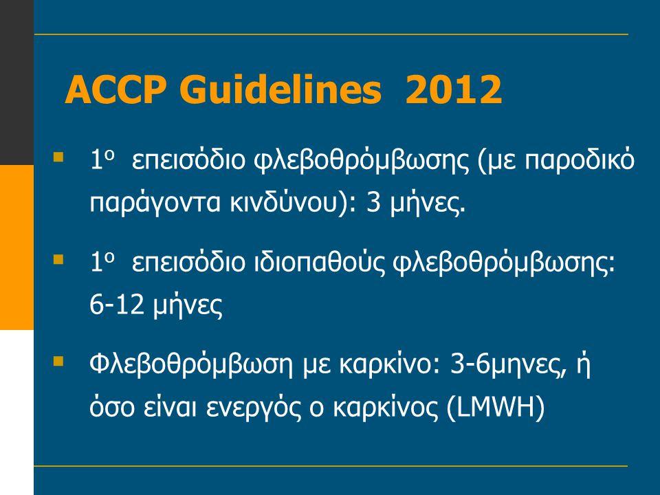 ACCP Guidelines 2012 1ο επεισόδιο φλεβοθρόμβωσης (με παροδικό παράγοντα κινδύνου): 3 μήνες. 1ο επεισόδιο ιδιοπαθούς φλεβοθρόμβωσης: 6-12 μήνες.