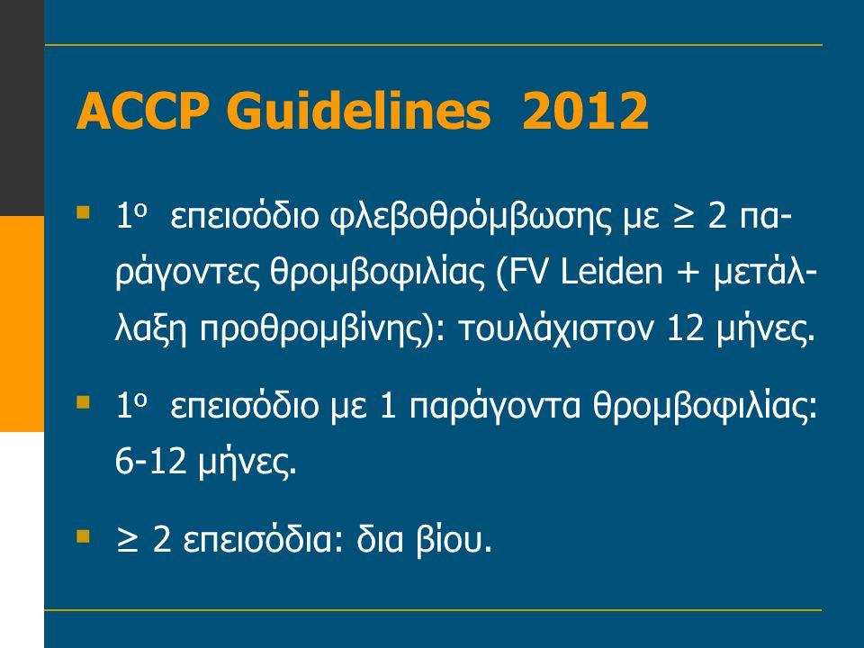ACCP Guidelines 2012 1ο επεισόδιο φλεβοθρόμβωσης με ≥ 2 πα-ράγοντες θρομβοφιλίας (FV Leiden + μετάλ-λαξη προθρομβίνης): τουλάχιστον 12 μήνες.