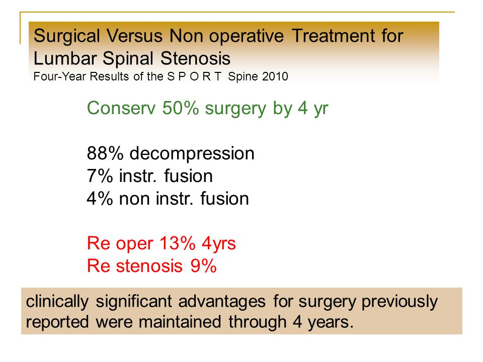 Surgical Versus Non operative Treatment for Lumbar Spinal Stenosis