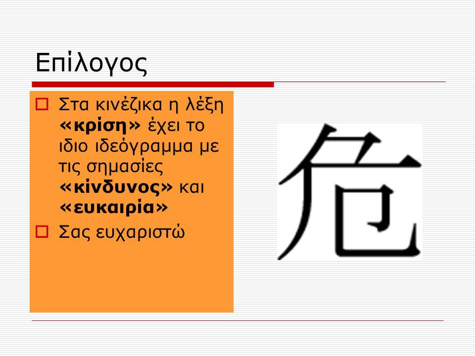Επίλογος Στα κινέζικα η λέξη «κρίση» έχει το ιδιο ιδεόγραμμα με τις σημασίες «κίνδυνος» και «ευκαιρία»