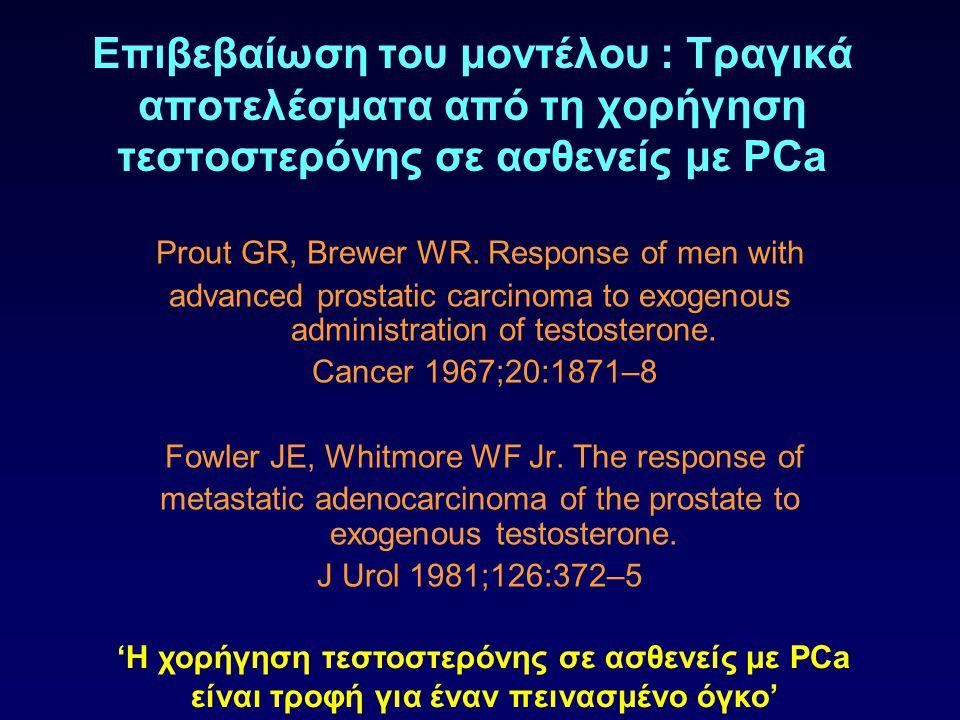 Επιβεβαίωση του μοντέλου : Τραγικά αποτελέσματα από τη χορήγηση τεστοστερόνης σε ασθενείς με PCa