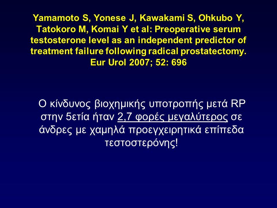 Yamamoto S, Yonese J, Kawakami S, Ohkubo Y, Tatokoro M, Komai Y et al: Preoperative serum testosterone level as an independent predictor of treatment failure following radical prostatectomy. Eur Urol 2007; 52: 696
