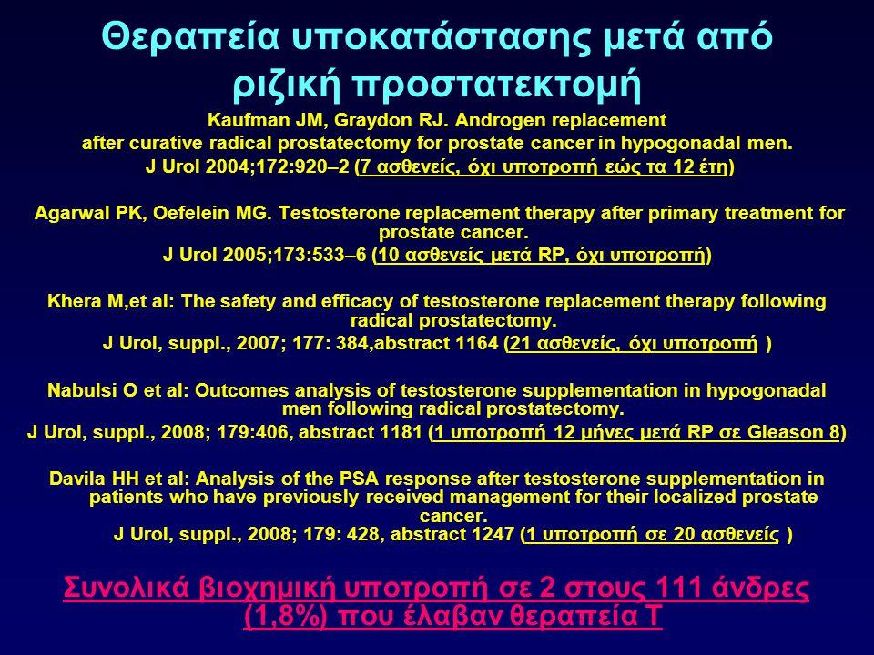 Θεραπεία υποκατάστασης μετά από ριζική προστατεκτομή