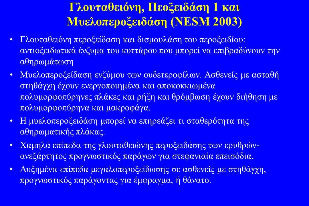 Γλουταθειόνη, Πεοξειδάση 1 και Μυελοπεροξειδάση (NESM 2003)