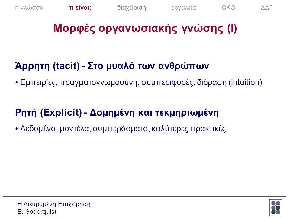 Μορφές οργανωσιακής γνώσης (I)