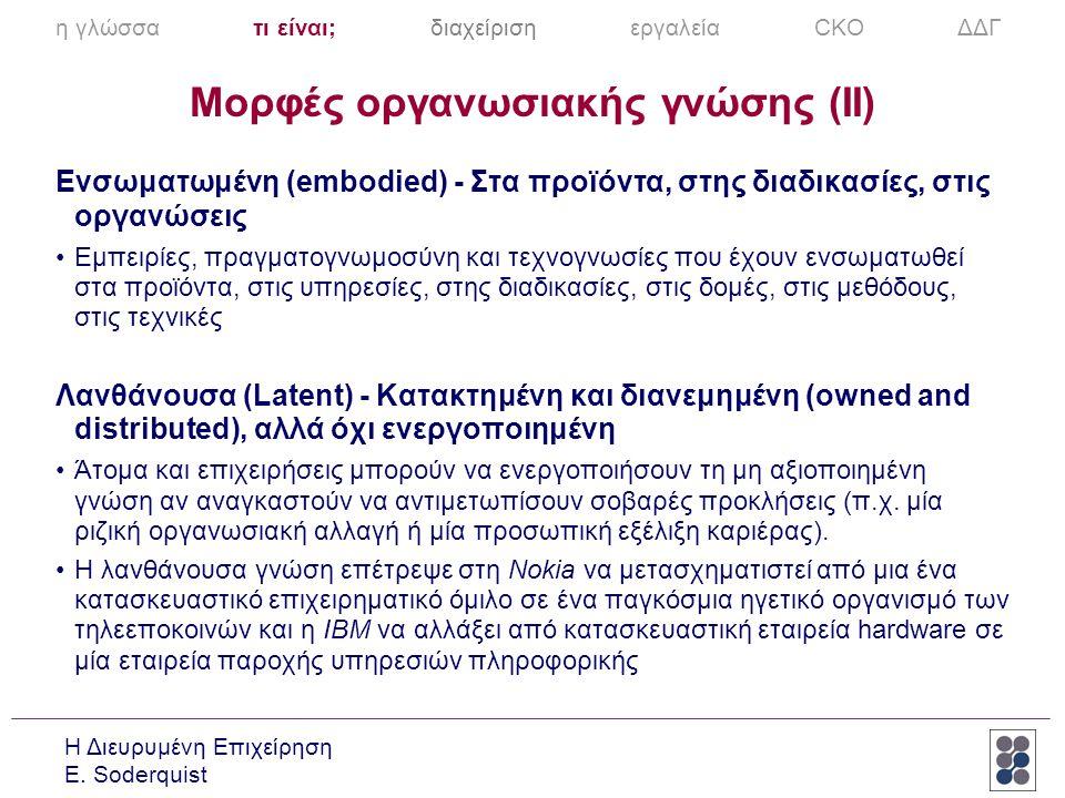 Μορφές οργανωσιακής γνώσης (II)