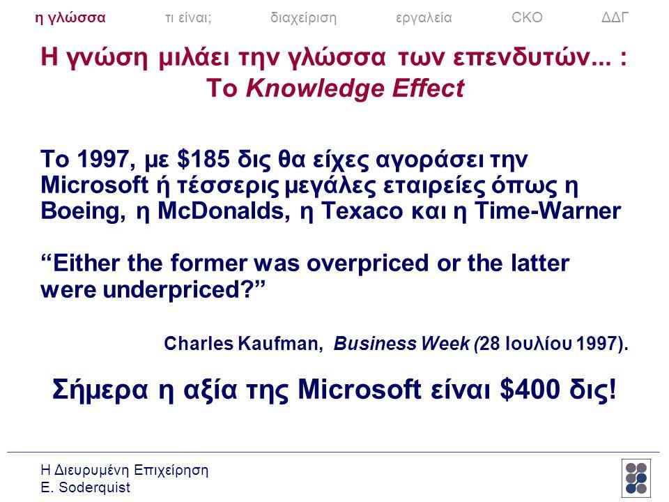 Η γνώση μιλάει την γλώσσα των επενδυτών... : To Knowledge Effect