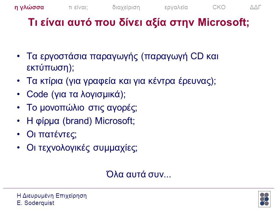 Τι είναι αυτό που δίνει αξία στην Microsoft;