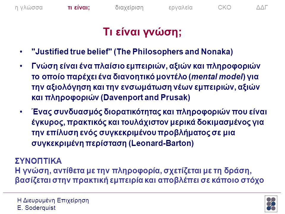 Τι είναι γνώση; Justified true belief (The Philosophers and Nonaka)