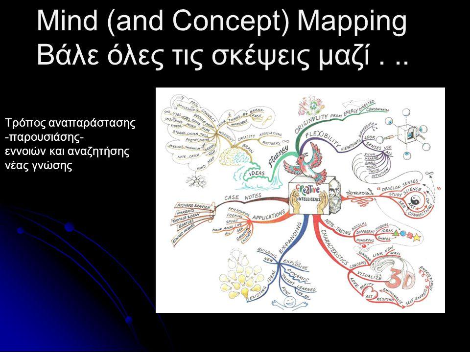 Mind (and Concept) Mapping Βάλε όλες τις σκέψεις μαζί . .. .