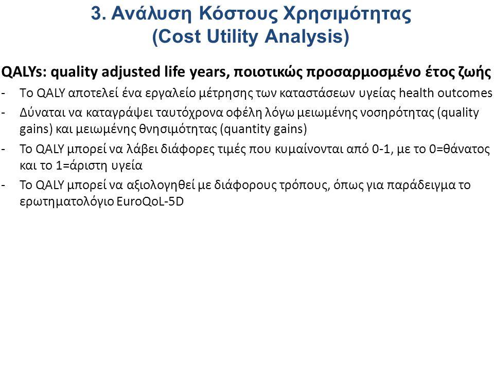 3. Ανάλυση Κόστους Χρησιμότητας (Cost Utility Analysis)