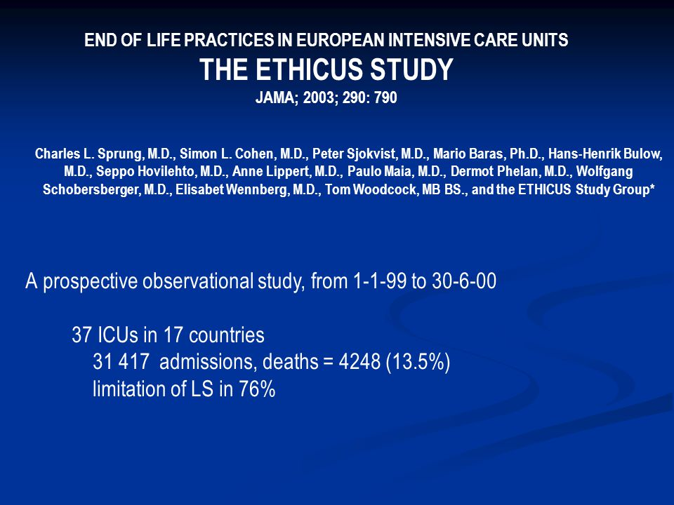 END OF LIFE PRACTICES IN EUROPEAN INTENSIVE CARE UNITS
