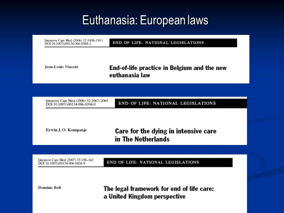 Euthanasia: European laws