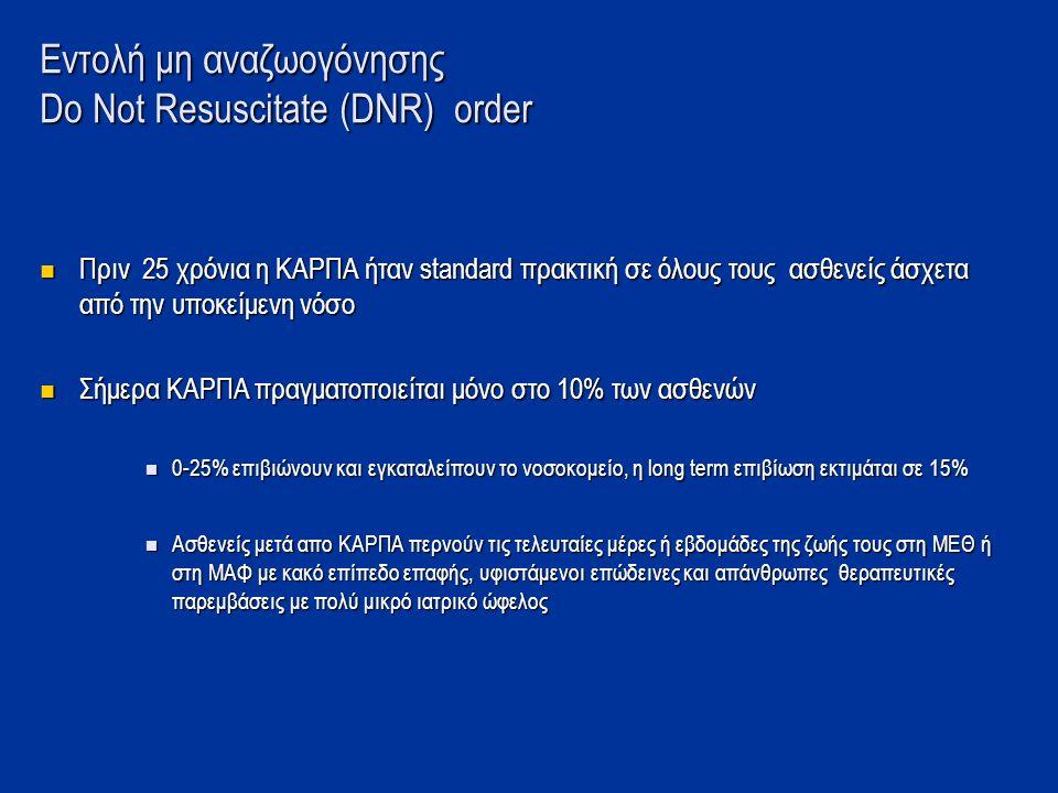 Εντολή μη αναζωογόνησης Dο Nοt Resuscitate (DNR) order