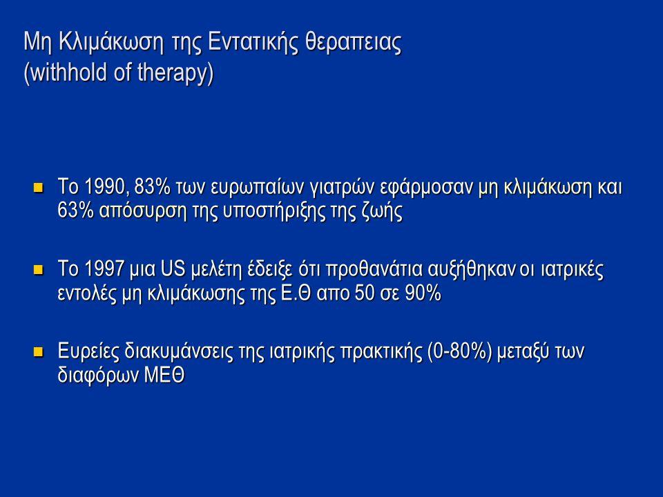 Μη Κλιμάκωση της Εντατικής θεραπειας (withhold of therapy)