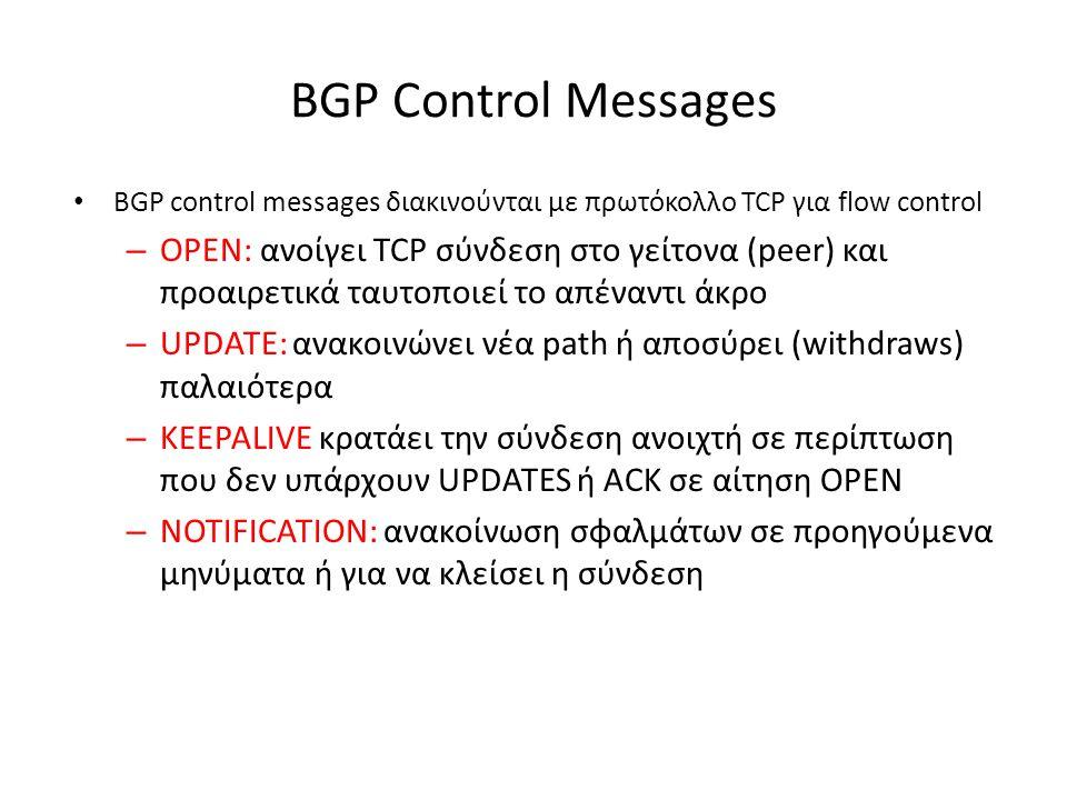 BGP Control Messages BGP control messages διακινούνται με πρωτόκολλο TCP για flow control.
