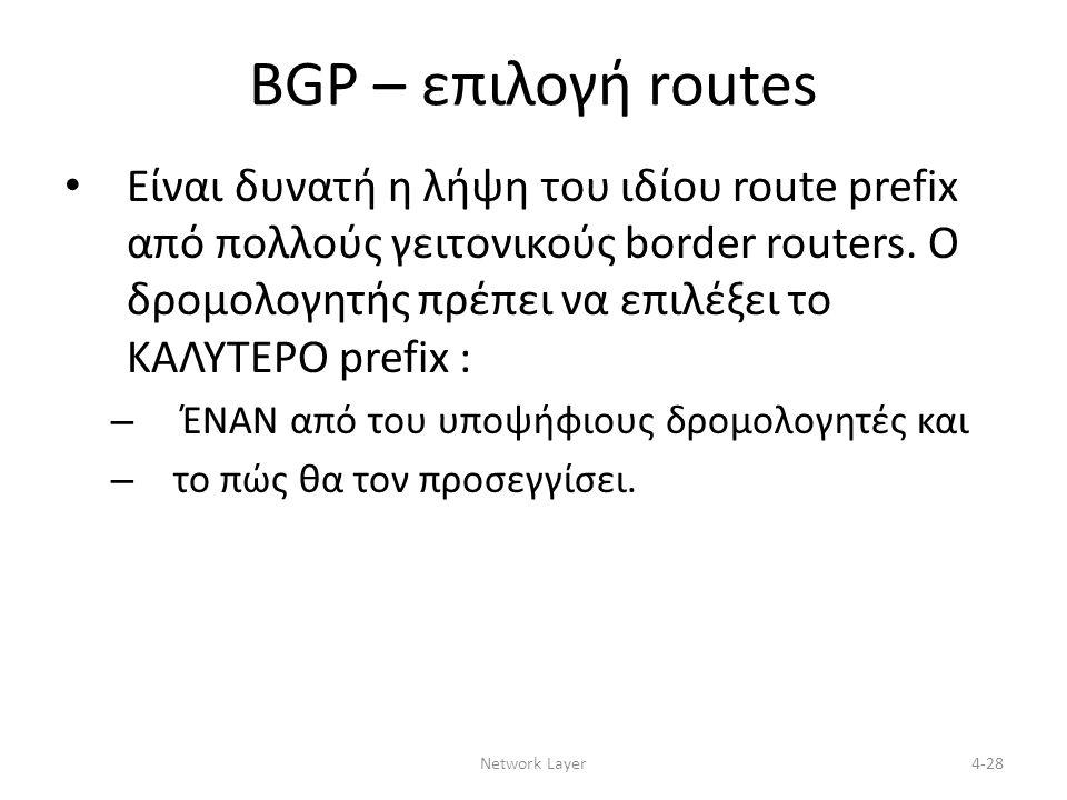 BGP – επιλογή routes