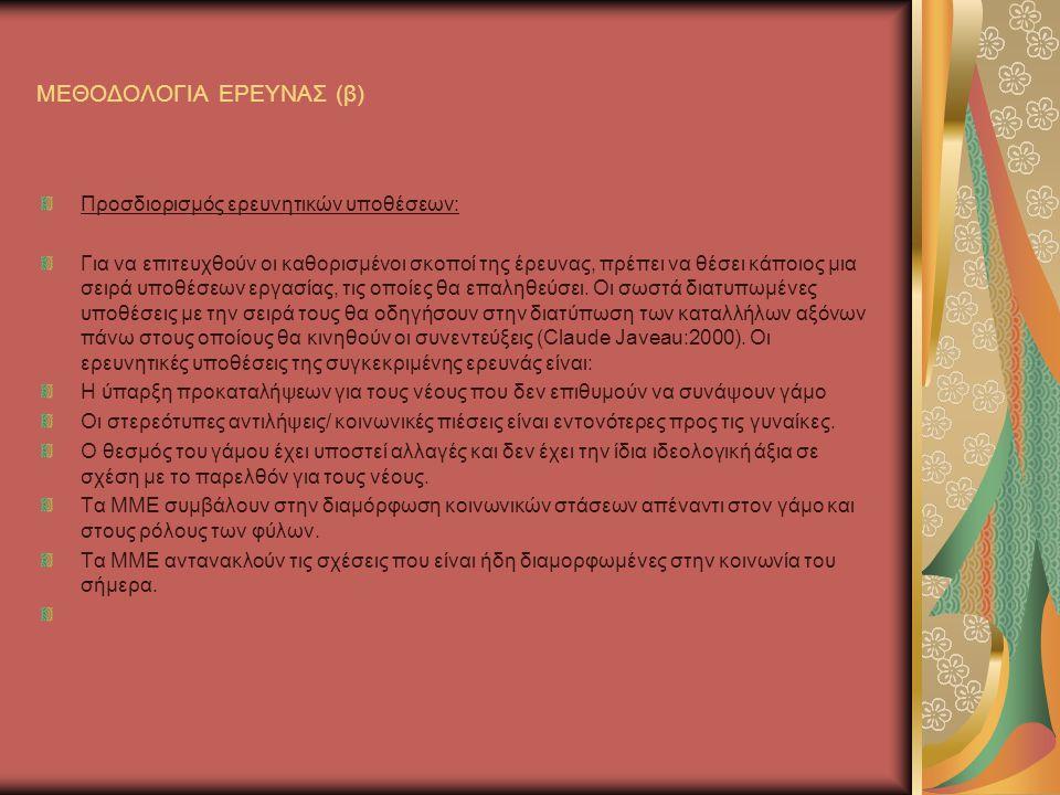 ΜΕΘΟΔΟΛΟΓΙΑ ΕΡΕΥΝΑΣ (β)