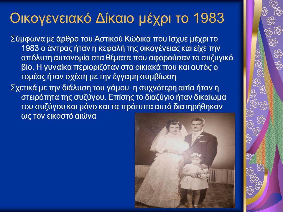 Οικογενειακό Δίκαιο μέχρι το 1983