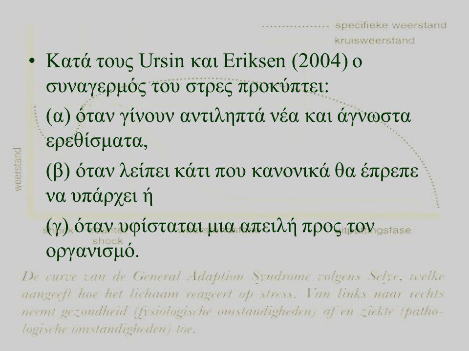 Κατά τους Ursin και Eriksen (2004) ο συναγερμός του στρες προκύπτει: