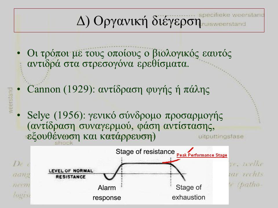 Δ) Οργανική διέγερση Οι τρόποι με τους οποίους ο βιολογικός εαυτός αντιδρά στα στρεσογόνα ερεθίσματα.