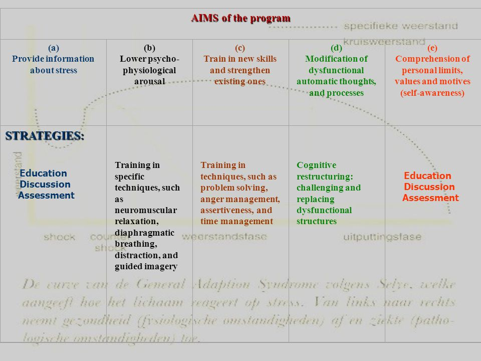 STRATEGIES: AIMS of the program (a) Provide information about stress