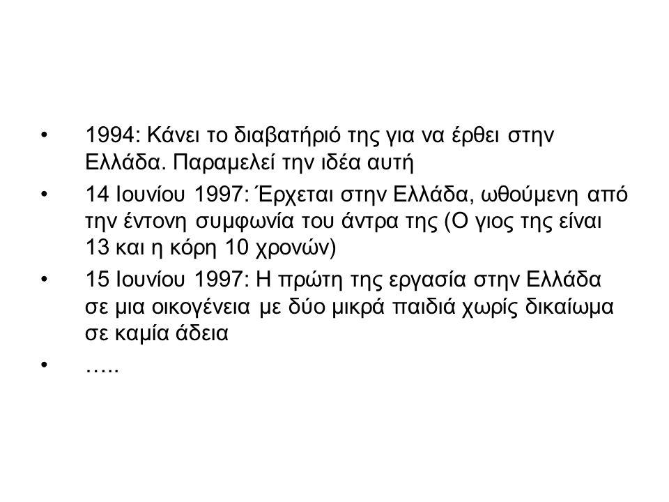 1994: Κάνει το διαβατήριό της για να έρθει στην Ελλάδα