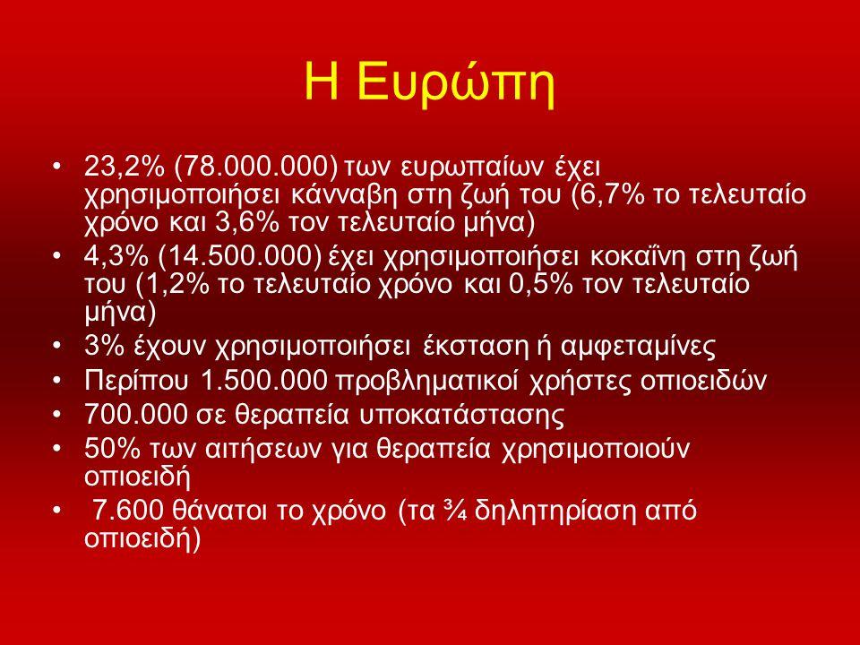 Η Ευρώπη 23,2% (78.000.000) των ευρωπαίων έχει χρησιμοποιήσει κάνναβη στη ζωή του (6,7% το τελευταίο χρόνο και 3,6% τον τελευταίο μήνα)