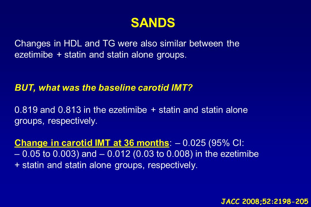 SANDS Changes in HDL and TG were also similar between the