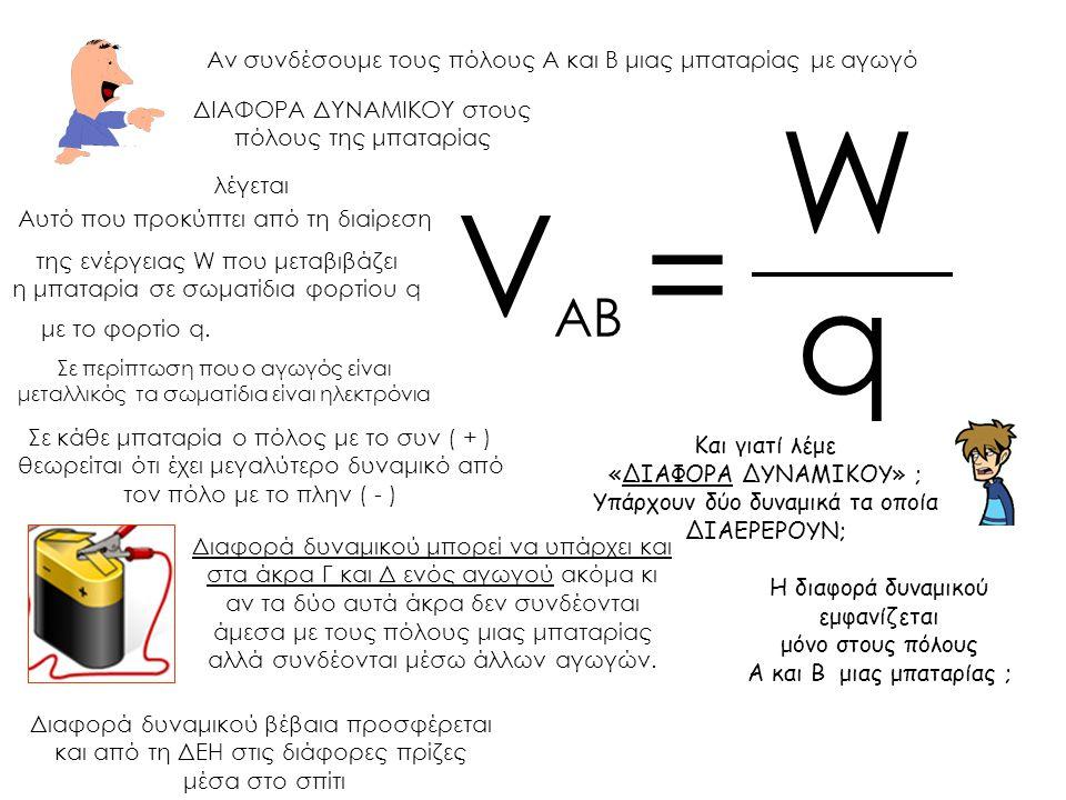 W VΑΒ = q Αν συνδέσουμε τους πόλους Α και Β μιας μπαταρίας με αγωγό