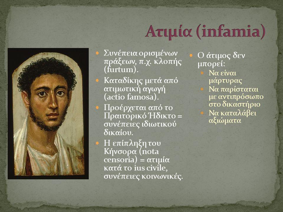 Ατιμία (infamia) Συνέπεια ορισμένων πράξεων, π.χ. κλοπής (furtum).