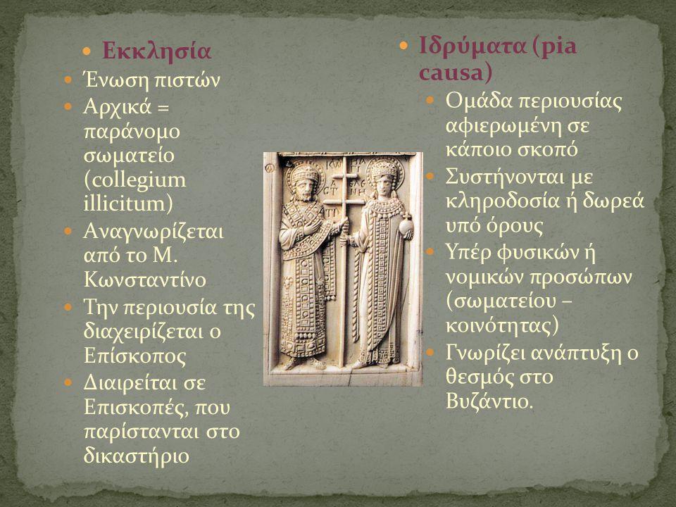 Ιδρύματα (pia causa) Εκκλησία Ένωση πιστών