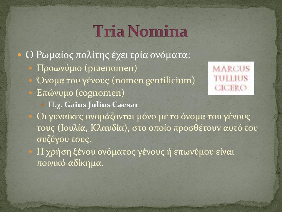 Τria Nomina O Ρωμαίος πολίτης έχει τρία ονόματα: Προωνύμιο (praenomen)