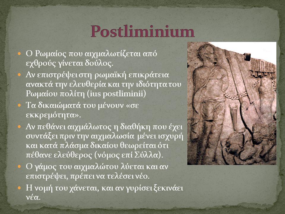 Postliminium Ο Ρωμαίος που αιχμαλωτίζεται από εχθρούς γίνεται δούλος.