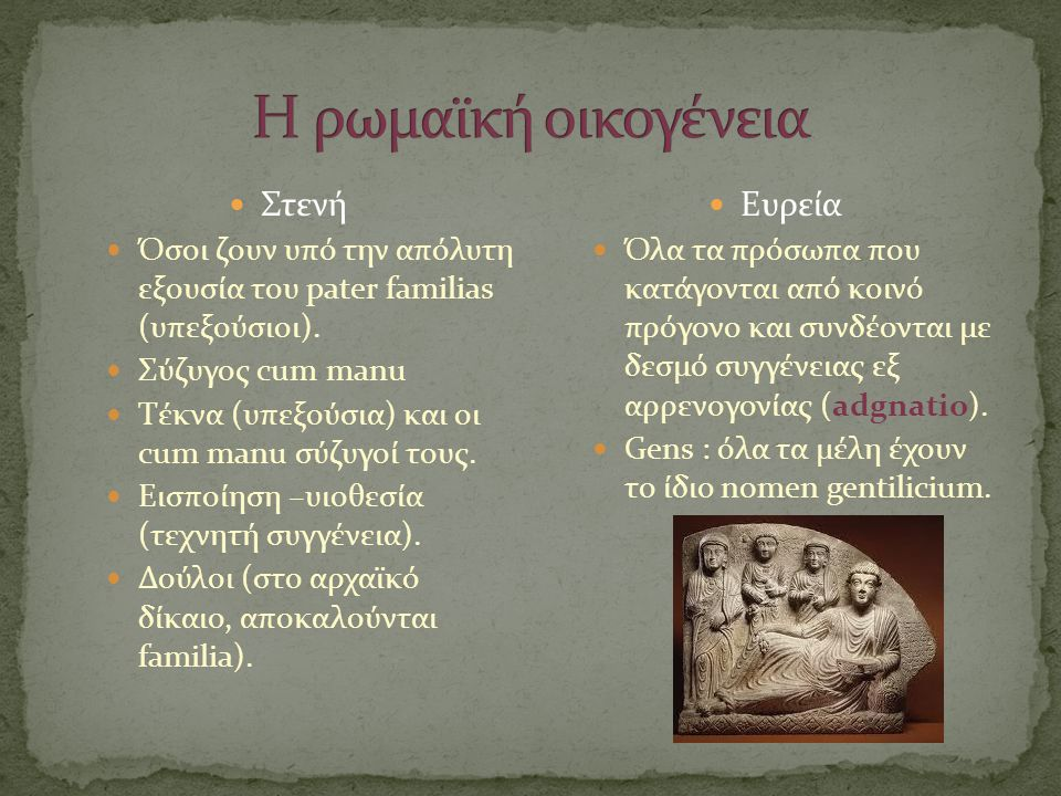 Η ρωμαϊκή οικογένεια Στενή Ευρεία