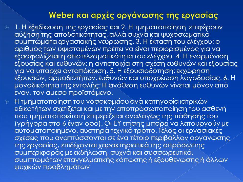 Weber και αρχές οργάνωσης της εργασίας