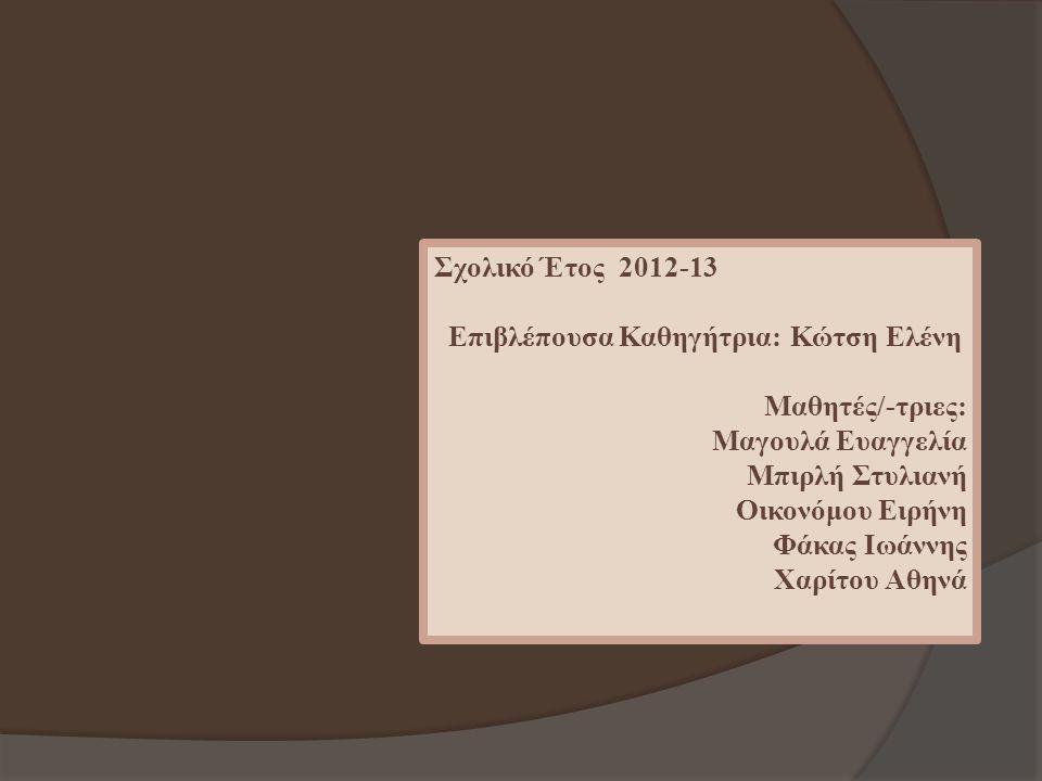 Σχολικό Έτος 2012-13 Επιβλέπουσα Καθηγήτρια: Κώτση Ελένη. Μαθητές/-τριες: Μαγουλά Ευαγγελία. Μπιρλή Στυλιανή.