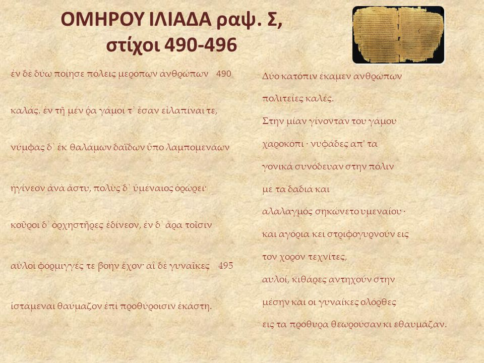 ΟΜΗΡΟΥ ΙΛΙΑΔΑ ραψ. Σ, στίχοι 490-496