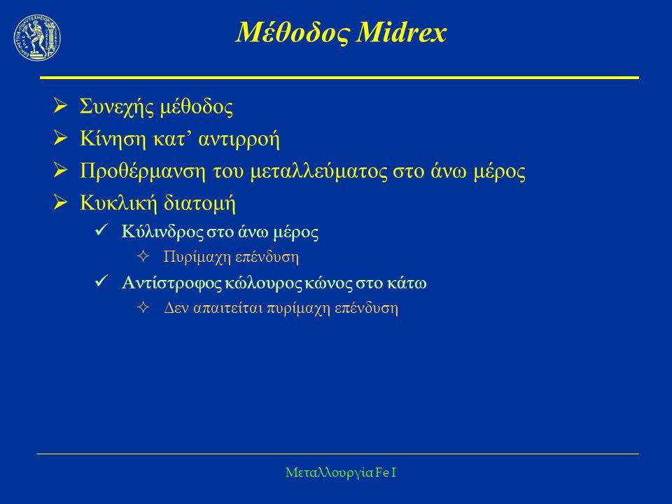 Μέθοδος Midrex Συνεχής μέθοδος Κίνηση κατ' αντιρροή