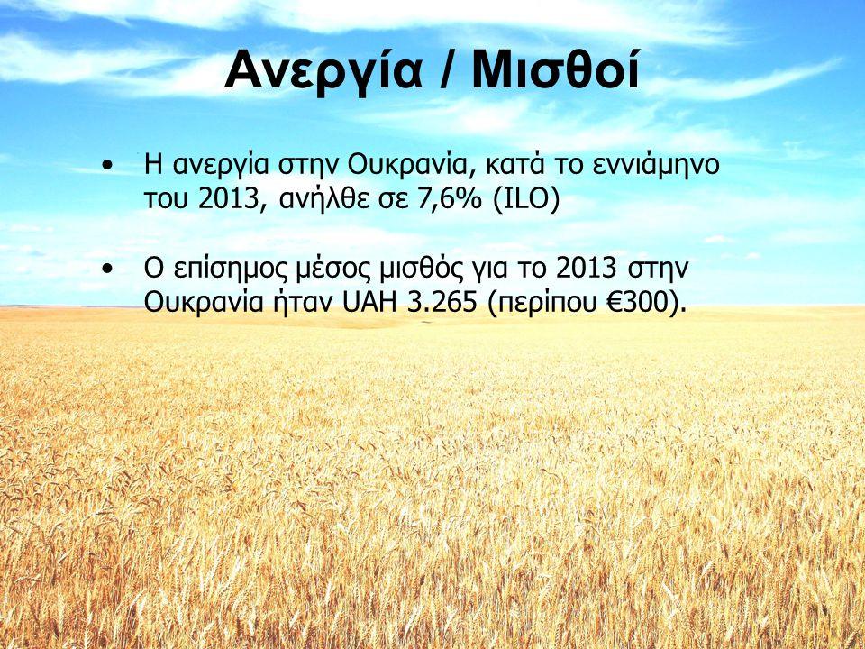 Ανεργία / Μισθοί Η ανεργία στην Ουκρανία, κατά το εννιάμηνο του 2013, ανήλθε σε 7,6% (ILO)