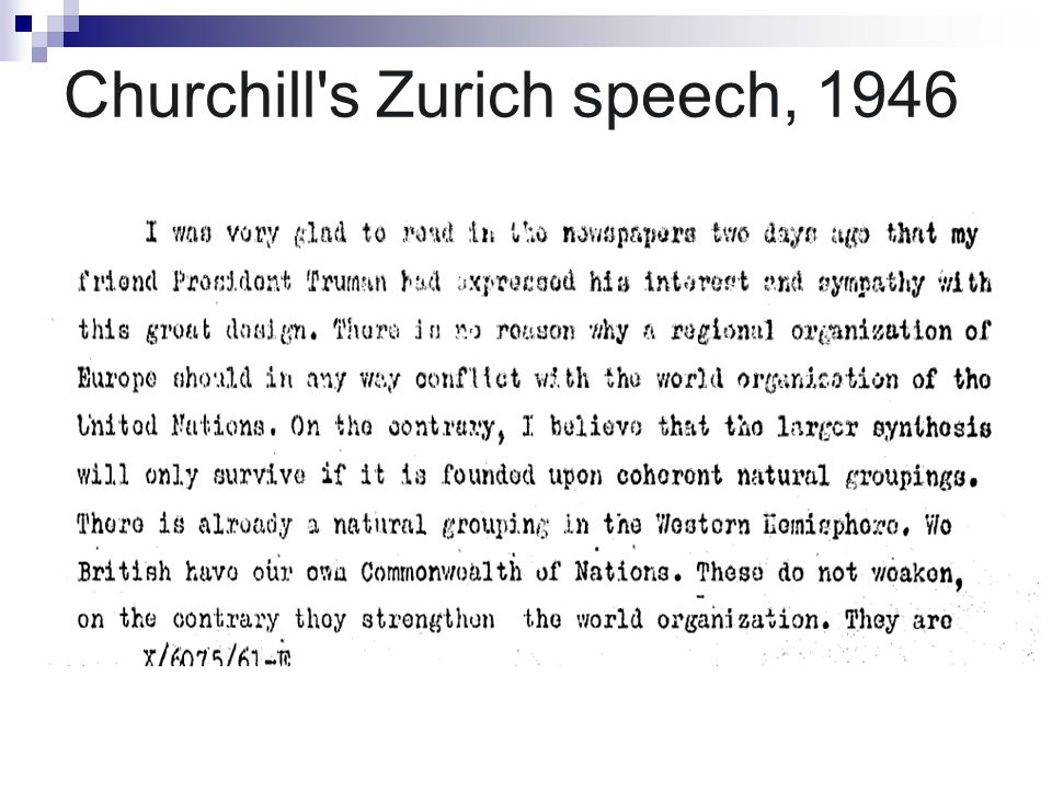 Churchill s Zurich speech, 1946